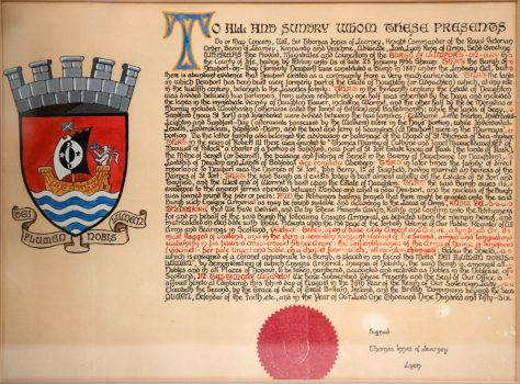 Charter granting Coat of Arms to Newport-on-Tay. Framed copy