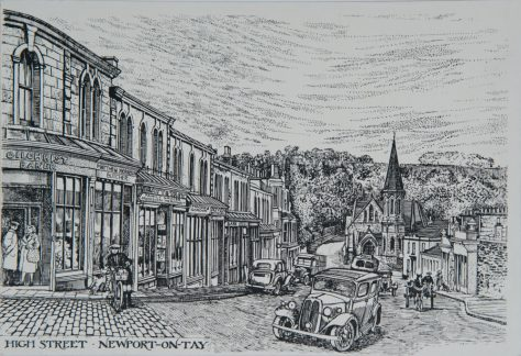 Drawing of Newport High Street, c. 1950