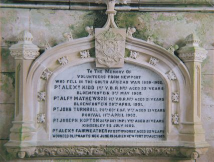 Memorial Panel to Boer War Casualties