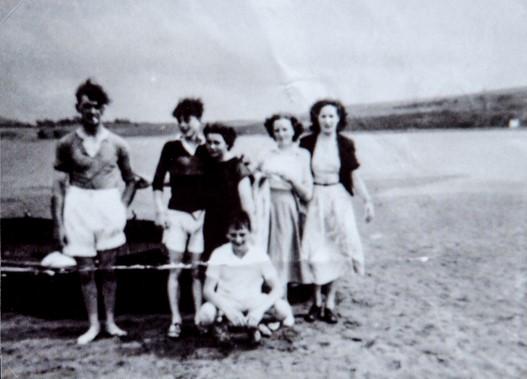 Wormit Boating Club Members on Sandbank 1949