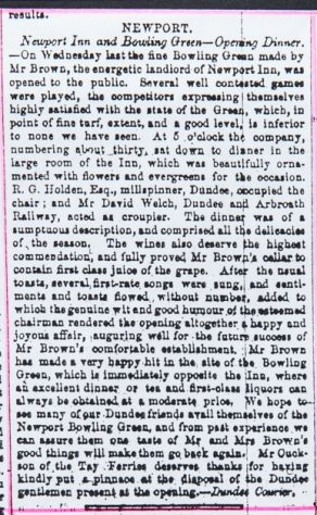 Newspaper Cutting of Bowling Green on High Street 1850s