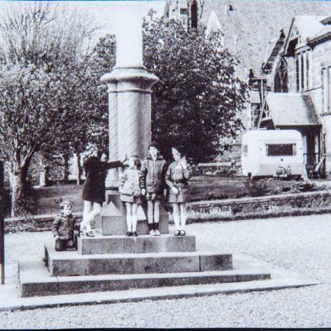 Newport Brownies at Blyth Hall flagpole.