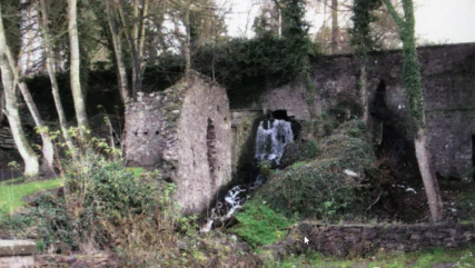 Seamills wall with hole for water wheel