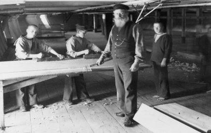 Ship's Carpenter Alexander McDougall in On-Board Workshop