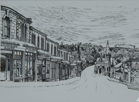 Drawing of Newport High Street About 1950