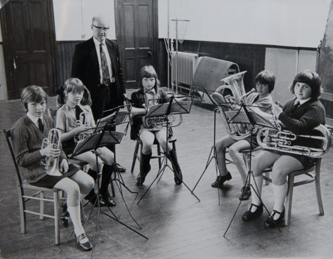 Wormit Primary School: Brass Pupils with Conductor Mr Hilton, 1974-75