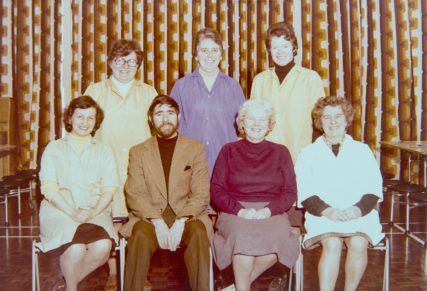 Wormit Head Teacher Mr Currie and Kitchen Staff c. 1980 | Joyce Lumsden