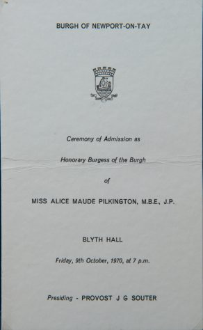 Miss Alice Maude Pilkington: Freedom of the Burgh