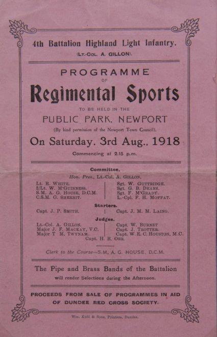 Highland Light Infantry Regimental Sports 1918, Windmill Park