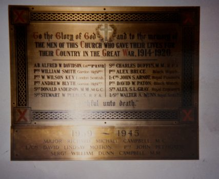 Memorial Plaque in Newport Church of Scotland
