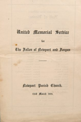 Order of Service for the Fallen of Newport and Wormit