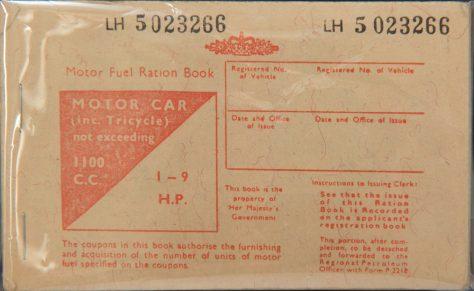 Wartime Motor Fuel Ration Book