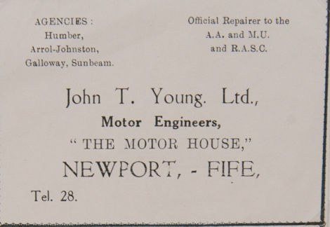 Advertisement for JT Young's Garage Business