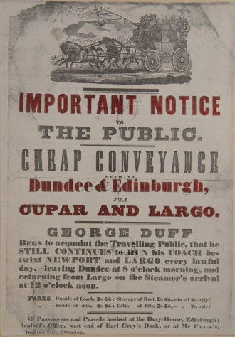 Advertisement for George Duff's Coach Service, 1840s