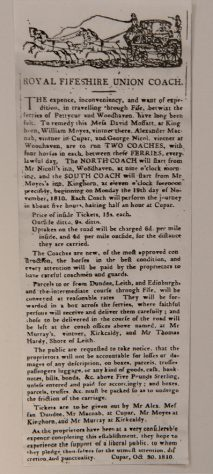 Coaching Service: Advertisement for Woodhaven - Pettycur, 1810