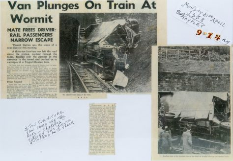 Furniture Van Accident at Wormit Station 1958