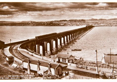 Postcard: Tay Rail Bridge and Wormit Station