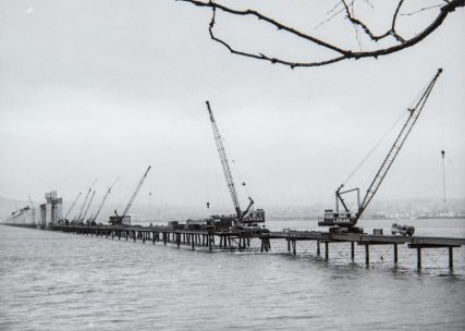 Temporary Bridge, Cranes and First Columns
