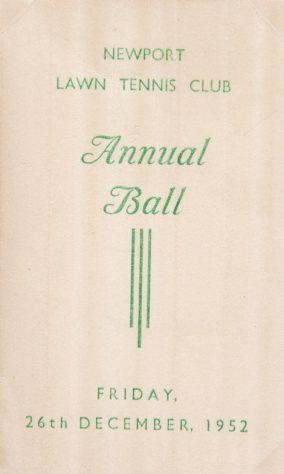 Newport Tennis Club Annual Ball 1952