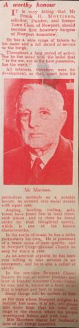 Frank Morrison: Freedom of Burgh 1953