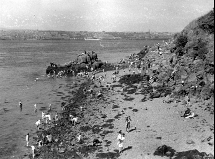 Newport beach in wartime