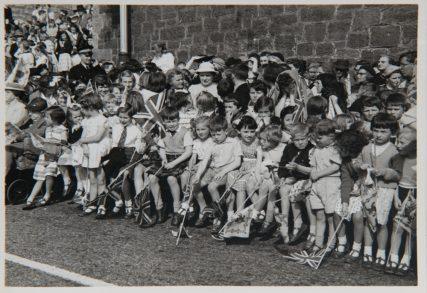 Schoolchildren Await the Royal Visitor 1958