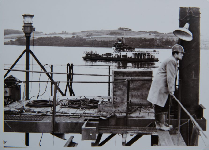 A Fifie Passing the New Tay Road Bridge Under Construction 1965