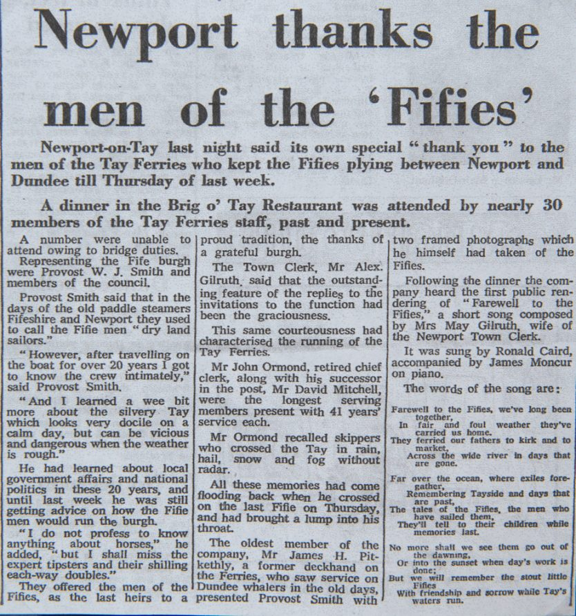 Newspaper Article - Newport Thanks the Men of the Fifies