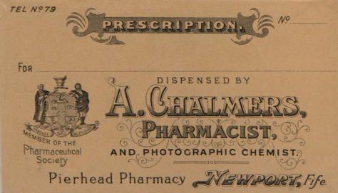 Chalmers the Chemist Prescription Envelope
