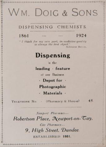 Advert for Doig the Chemist