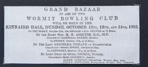 Grand Bazaar Fund-raising. Wormit Bowling Club