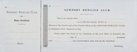Newport Bowling Club £1 Share Certificate, 1870s