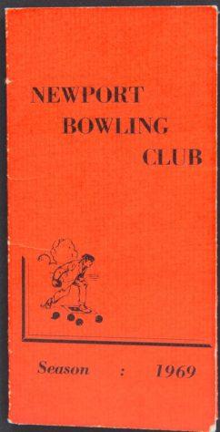 Newport Bowling Club Fixture Card, 1969