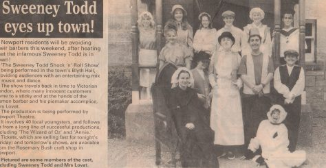 Newspaper cutting of The Cast of TNT's Sweeney Todd