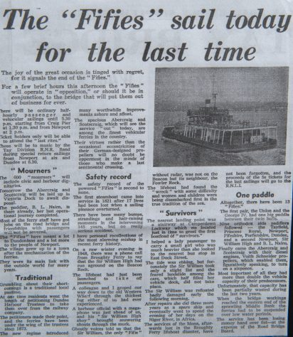 Newspaper Article on Fifie's Last Sailing, 1966