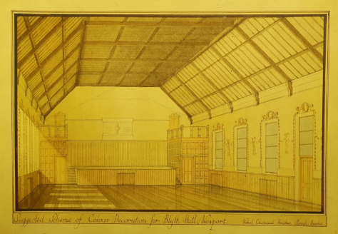 Blyth Hall: Drawing of Interior 1920s