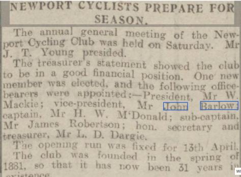 Newport Cycling Club AGM 1912