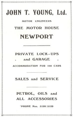 Advertisement for J T Young's Motor House