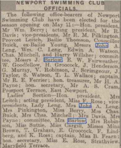 Newport Swimming Club 1913
