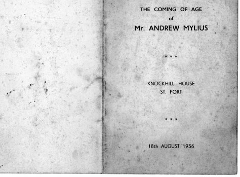 Coming-of-Age Dinner Menu Andrew Mylius 1956